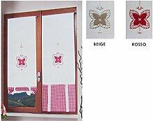 Paar Gardinen Glas Verstellbare Paket virginia-rosso-60X 230