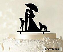 """Paar-Hochzeits Kuchendeckel Personalized Spiegel Cake Topper Color Option verfügbar 6,5 """"""""-7,5"""""""" Zoll brei"""