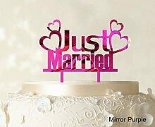 """Paar-Hochzeits Kuchendeckel Personalized Spiegel Cake Topper Color Option verfügbar 5 """"""""-7"""""""" Zoll brei"""