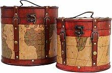 Paar Hutkoffer Hutschachtel Hutbox Holz Antik-Stil