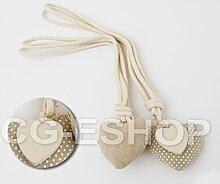 Paar Raffhalter Herz gepunktet aus Baumwolle + Herz Holz beige-Vorhang Shabby