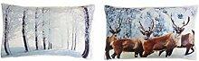 Paar von Winter Glitzer Weihnachten Wald Bäume & Rentier Hirsch Kissenbezüge 30 x 50cm