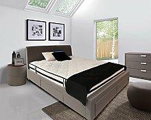 Pack Doppelbett Stoff grau + Matratze–Bett 4Schubladen–140x 190Qualität Prestige mit Kopfteil, Füße aus boisl und Lattenrost integriert–Vancouver