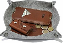Pack & Smooch Taschenleerer Schlüsselablage Handyablage 100% Merino Wollfilz Pflanzlich gegerbtes Leder Grau/Hellbraun