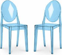 Pack von 2 Victoria Stühle Blau transparent