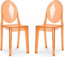 Pack von 2 Victoria Stühle Orange transparent