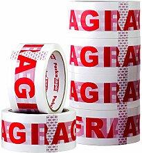 Packatape | Fragile Paketklebeband | 66m lang &