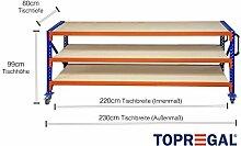Packtisch-Lagerregal fahrbar mit Holzboden verschiedene Breiten/Höhen/Tiefen/Ebenen (230/99/80cm (B/H/T), 3 Ebenen)