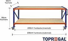 Packtisch-Lagerregal fahrbar mit Holzboden verschiedene Breiten/Höhen/Tiefen/Ebenen (230/99/60cm (B/H/T), 2 Ebenen)