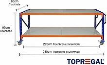 Packtisch-Lagerregal fahrbar mit Stahlboden verschiedene Breiten/Höhen/Tiefen/Ebenen (230/99/80cm (B/H/T), 2 Ebenen)