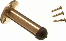 Packung mit 3 Türanschlag Aufenthalt Pillar Typ 63mm 2 1/2 Zoll, Messing poliert + Schrauben