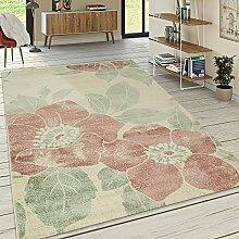 Paco Home Designer Teppich Wohnzimmer Kurzflor Modern Florales Muster Pastellfarben Pink, Grösse:200x290 cm