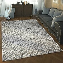 Paco Home Designer Wohnzimmer Teppich Hoch Tief Struktur Abstraktes Muster Modern Grau, Grösse:120x170 cm