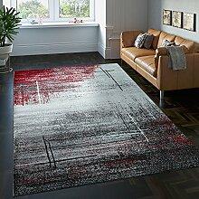 Paco Home Edler Designer Wohnzimmer Teppich Kurzflor Farbverlauf Abstraktes Muster Rot, Grösse:200x290 cm