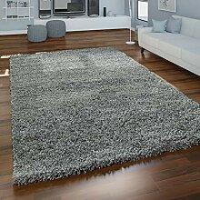 Paco Home Grauer Hochflor Teppich Wohnzimmer