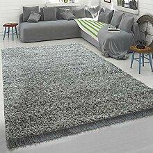 Paco Home Grauer Teppich Wohnzimmer Hochflor