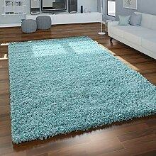 Paco Home Hochflor Teppich Wohnzimmer Türkis Blau