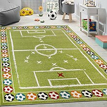 Paco Home Kinderteppich Bunte Fußbälle Design Kurzflor Fußballfeld Spielteppich Weiß Grün, Grösse:80x150 cm