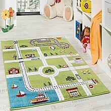 Paco Home Kinderteppich Spielteppich City Hafen Straßenteppich Stadt Straße Grau Grün, Grösse:160x220 cm