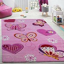 Paco Home Kinderzimmer Teppich Kinderteppich Schmetterling Motive Mit Konturenschnitt Pink, Grösse:140x200 cm