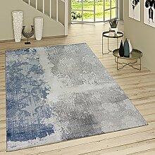 Paco Home Kurzflor Teppich Denim Look Mit Rokoko Muster Jeansblau Modern Meliert Grau, Grösse:200x290 cm