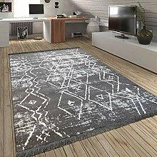 Paco Home Teppich Fransen Skandinavisch Wohnzimmer