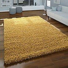 Paco Home Teppich Hochflor Gelb Wohnzimmer Shaggy