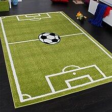 Paco Home Teppich Kinderzimmer Fußball Spielteppich Kinderteppich Fußballplatz Grün, Grösse:240x320 cm