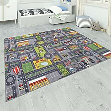 Paco Home Teppich Kinderzimmer Grau Kinderteppich