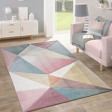 Paco Home Teppich Kurzflor Modern Trendig Pastell Geometrisches Design Inspiration Multi, Grösse:200x280 cm