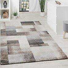 Paco Home Teppich Meliert Modern Webteppich Hochwertig Kariert Beige Creme Grau, Grösse:200x290 cm