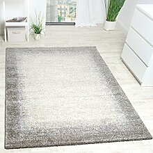 Paco Home Teppich Meliert Modern Webteppich Hochwertig Mit Bordüre Beige Creme Grau, Grösse:200x290 cm