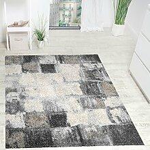 Paco Home Teppich Modern Webteppich Hochwertig Meliert Kariert in Grau Creme Kupferton, Grösse:200x290 cm