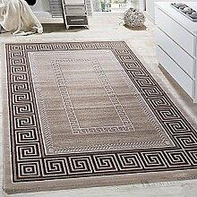 Paco Home Teppich Wohnzimmer Bordüre Ornament Muster Abstrakt Design Meliert Beige Creme, Grösse:160x230 cm