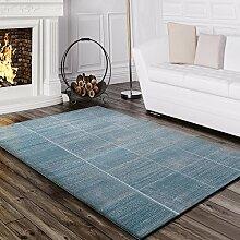 Paco Home Teppich Wohnzimmer Konturenschnitt Kariert Gestreift Design Meliert Türkis, Grösse:80x150 cm