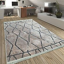 Paco Home Teppich Wohnzimmer Rauten Fransen