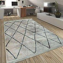 Paco Home Wohnzimmer Teppich Rauten Fransen