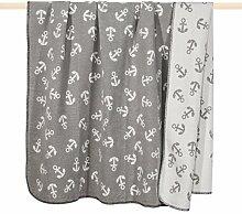 pad AHOI Decke/blanket Anker Wolldecke 150*200 grau