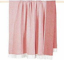 PAD Madison Decke Wolldecke mit Fransen pink/weiß 150x200cm
