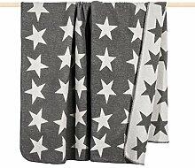 pad Wohndecke - Stars - 150 x 200 cm - trendige weiche Wolldecke mit Sternen - Wendedecke zweifarbig - Waschbar bei 30°C, Farbe:Pad Grey_K10