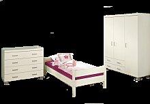 Paidi Biancomo Jugendzimmer 3 teilig Kleiderschrank 3-türig mit 2 Schubkästen Kommode mit 4 Schubkästen und Liege 90x200 cm in Ecru optional mit weiteren Beimöbeln