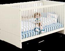 Paidi Biancomo Kinderbett in ecru mit 2 Schlupfsprossen und höhenverstellbaren Lattenrost Liegefläche ca. 70 x 140 cm