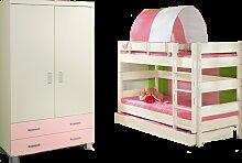 Paidi Biancomo Kinderzimmer bestehend aus Kleiderschrank 2-türig mit Absetzung rose´Etagenbett 155 mit Bettkasten-Unterschiebebett in Ecru optional mit Halb-Zelt