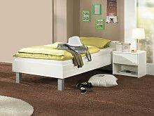 Paidi Fabiana Jugendbett Kinderbett Bett mit Nachtkommode in Glanz weiß