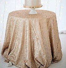 Pailletten-Tischdecke, beste Wahl für Veranstaltungen, 121,9cm, rund, silbern, metallic, Überzug, Champagne Color, 120cm Round