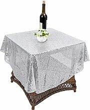 """Pailletten Tischdecke, Tischdekoration für Hochzeit Geburtstag Hintergrund Vorhang Tischläufer DIY Nähen, 120cm / 47"""" Dia (Silber)"""