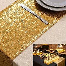 Pailletten Tischläufer 30 x 180cm Pailletten Tischdecke machen glänzender Eleganter schwarz Pailletten Tischläufer, Pailletten Bettwäsche für Geburtstag/Party/Hochzeit D ¨ ¦ cor Gold Colo