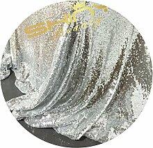 Paillettenstoff für Tischdecken, Weihnachtsdekoration, Bezüge,3,6m, Meterware, verschiedene Farben verfügbar, Schwarz, Leinen, silberfarben, 4 yards