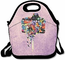 Painting Camera Convenient Lunch Box Tote Bag