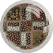Paisley-Vogel Küchenknopf Klarglasschrank